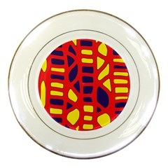 Red, yellow and blue decor Porcelain Plates