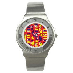 Red, yellow and blue decor Stainless Steel Watch