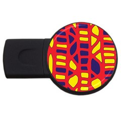 Red, yellow and blue decor USB Flash Drive Round (4 GB)