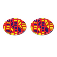Red, yellow and blue decor Cufflinks (Oval)
