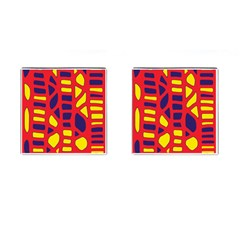 Red, yellow and blue decor Cufflinks (Square)