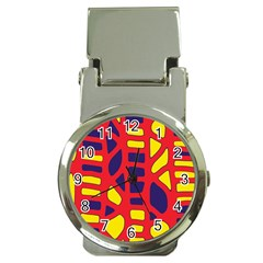 Red, yellow and blue decor Money Clip Watches