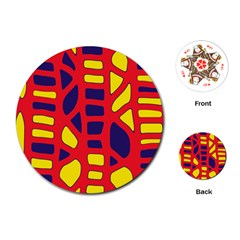 Red, yellow and blue decor Playing Cards (Round)