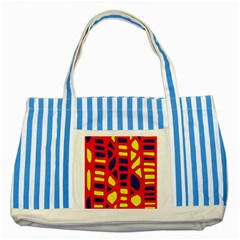 Red, yellow and blue decor Striped Blue Tote Bag