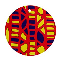 Red, yellow and blue decor Round Ornament (Two Sides)