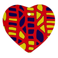 Red, yellow and blue decor Heart Ornament (2 Sides)