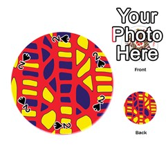Red, yellow and blue decor Playing Cards 54 (Round)