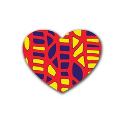 Red, yellow and blue decor Rubber Coaster (Heart)