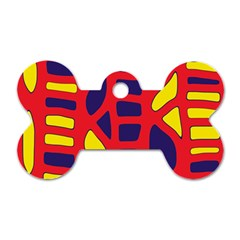 Red, yellow and blue decor Dog Tag Bone (Two Sides)