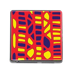 Red, yellow and blue decor Memory Card Reader (Square)