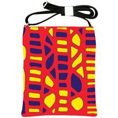 Red, yellow and blue decor Shoulder Sling Bags