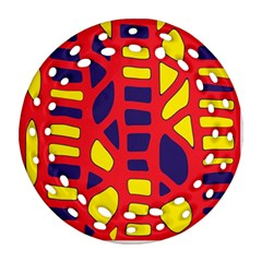 Red, yellow and blue decor Round Filigree Ornament (2Side)
