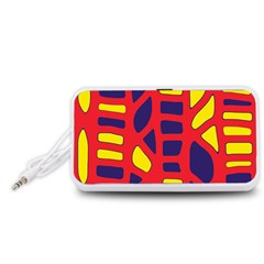 Red, yellow and blue decor Portable Speaker (White)