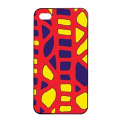 Red, yellow and blue decor Apple iPhone 4/4s Seamless Case (Black)