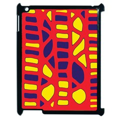 Red, yellow and blue decor Apple iPad 2 Case (Black)
