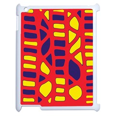 Red, yellow and blue decor Apple iPad 2 Case (White)