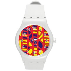 Red, yellow and blue decor Round Plastic Sport Watch (M)