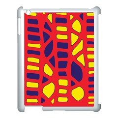 Red, yellow and blue decor Apple iPad 3/4 Case (White)