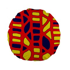 Red, yellow and blue decor Standard 15  Premium Round Cushions