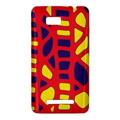 Red, yellow and blue decor HTC One SU T528W Hardshell Case