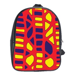 Red, yellow and blue decor School Bags (XL)