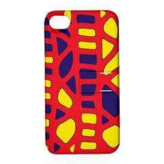 Red, yellow and blue decor Apple iPhone 4/4S Hardshell Case with Stand