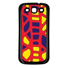 Red, yellow and blue decor Samsung Galaxy S3 Back Case (Black)