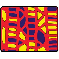 Red, yellow and blue decor Double Sided Fleece Blanket (Medium)