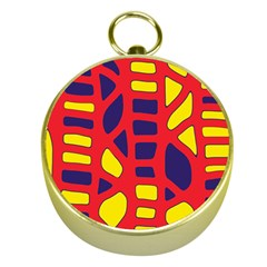 Red, Yellow And Blue Decor Gold Compasses