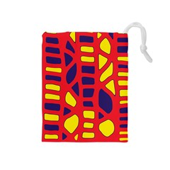 Red, yellow and blue decor Drawstring Pouches (Medium)