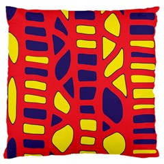 Red, yellow and blue decor Large Flano Cushion Case (One Side)