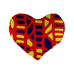Red, yellow and blue decor Standard 16  Premium Flano Heart Shape Cushions