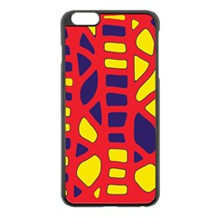 Red, yellow and blue decor Apple iPhone 6 Plus/6S Plus Black Enamel Case