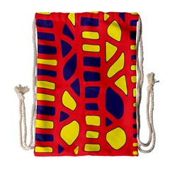 Red, yellow and blue decor Drawstring Bag (Large)