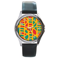 Abstract decor Round Metal Watch