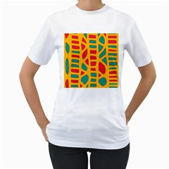 Abstract decor Women s T-Shirt (White) (Two Sided)