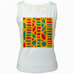 Abstract decor Women s White Tank Top