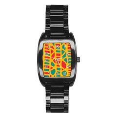 Abstract decor Stainless Steel Barrel Watch