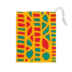 Abstract decor Drawstring Pouches (Large)