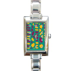 Green, purple and yellow decor Rectangle Italian Charm Watch