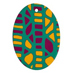 Green, purple and yellow decor Ornament (Oval)