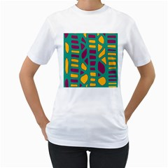 Green, purple and yellow decor Women s T-Shirt (White) (Two Sided)