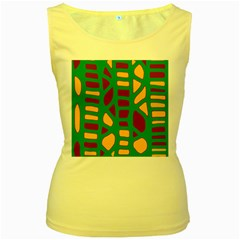 Green, purple and yellow decor Women s Yellow Tank Top