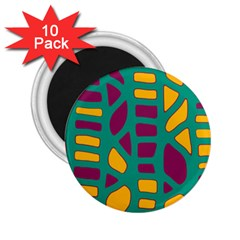 Green, purple and yellow decor 2.25  Magnets (10 pack)