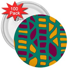 Green, purple and yellow decor 3  Buttons (100 pack)
