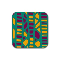 Green, purple and yellow decor Rubber Square Coaster (4 pack)