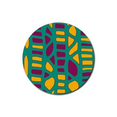 Green, purple and yellow decor Rubber Round Coaster (4 pack)