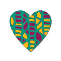 Green, purple and yellow decor Heart Magnet