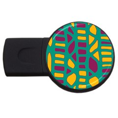 Green, purple and yellow decor USB Flash Drive Round (1 GB)
