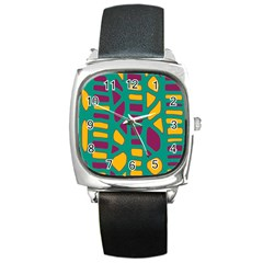 Green, purple and yellow decor Square Metal Watch